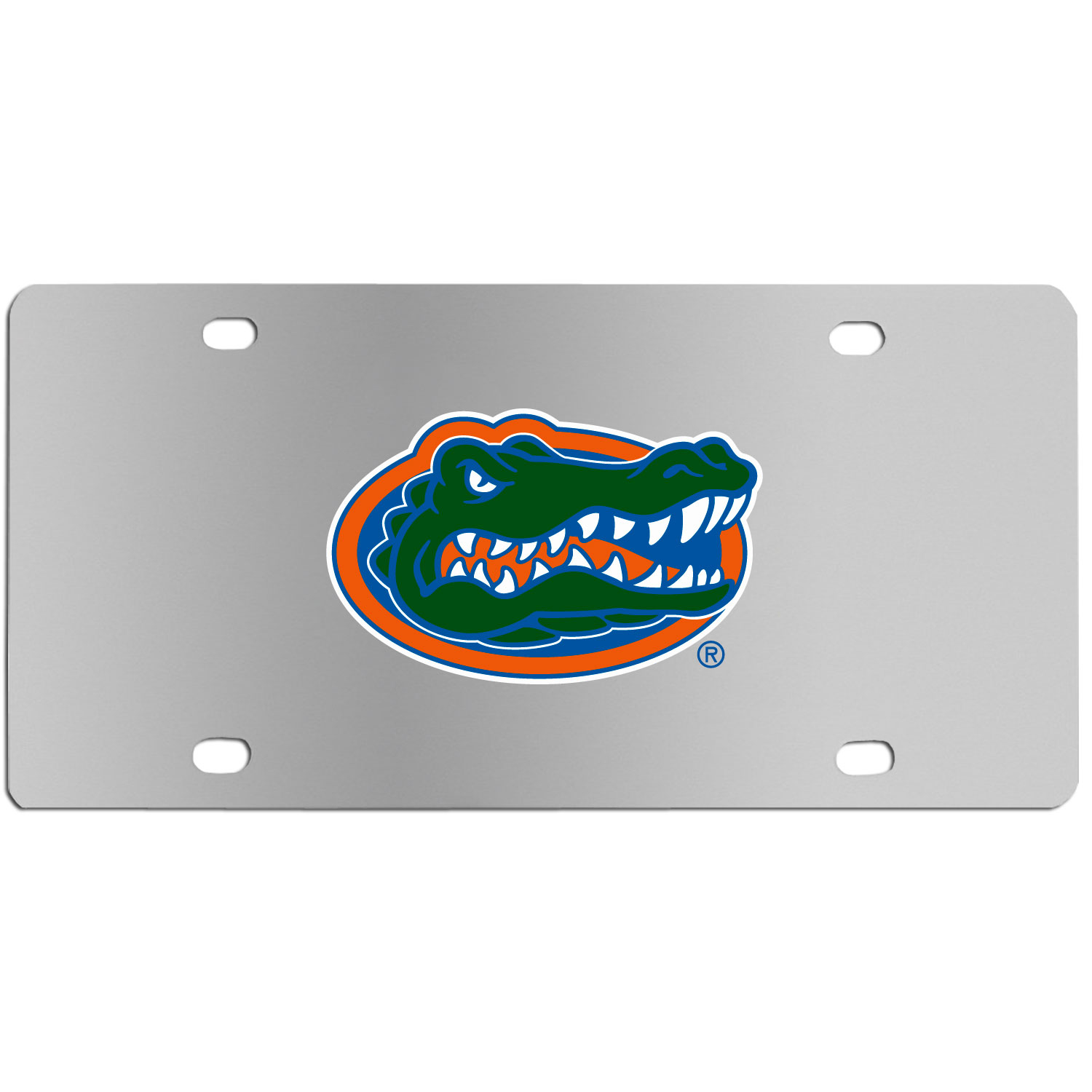 Florida Gators Steel License Plate Wall Plaque - This high-quality stainless steel license plate features a detailed team logo on a the polished surface. The attractive plate is perfect for wall mounting in your home or office to become the perfect die-hard Florida Gators fan decor.