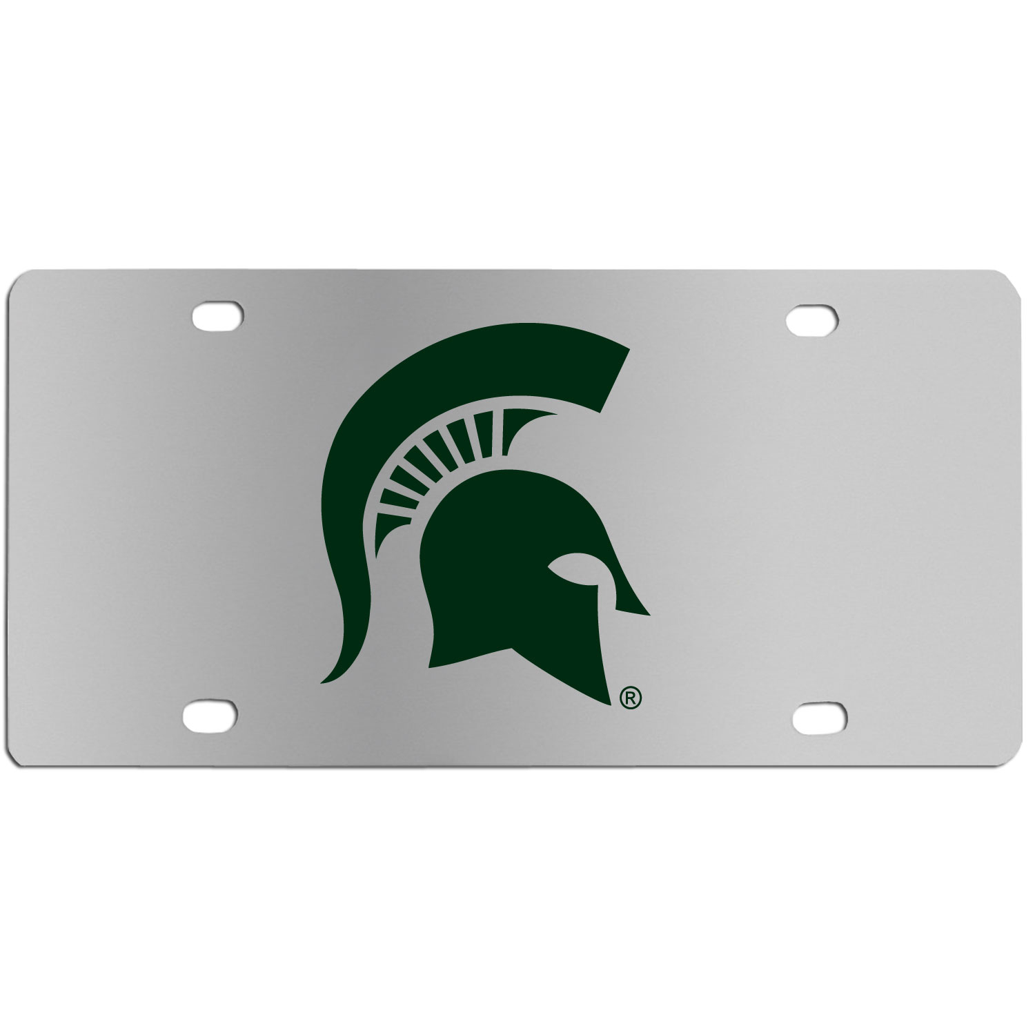 Michigan St. Spartans Steel License Plate Wall Plaque - This high-quality stainless steel license plate features a detailed team logo on a the polished surface. The attractive plate is perfect for wall mounting in your home or office to become the perfect die-hard Michigan St. Spartans fan decor.