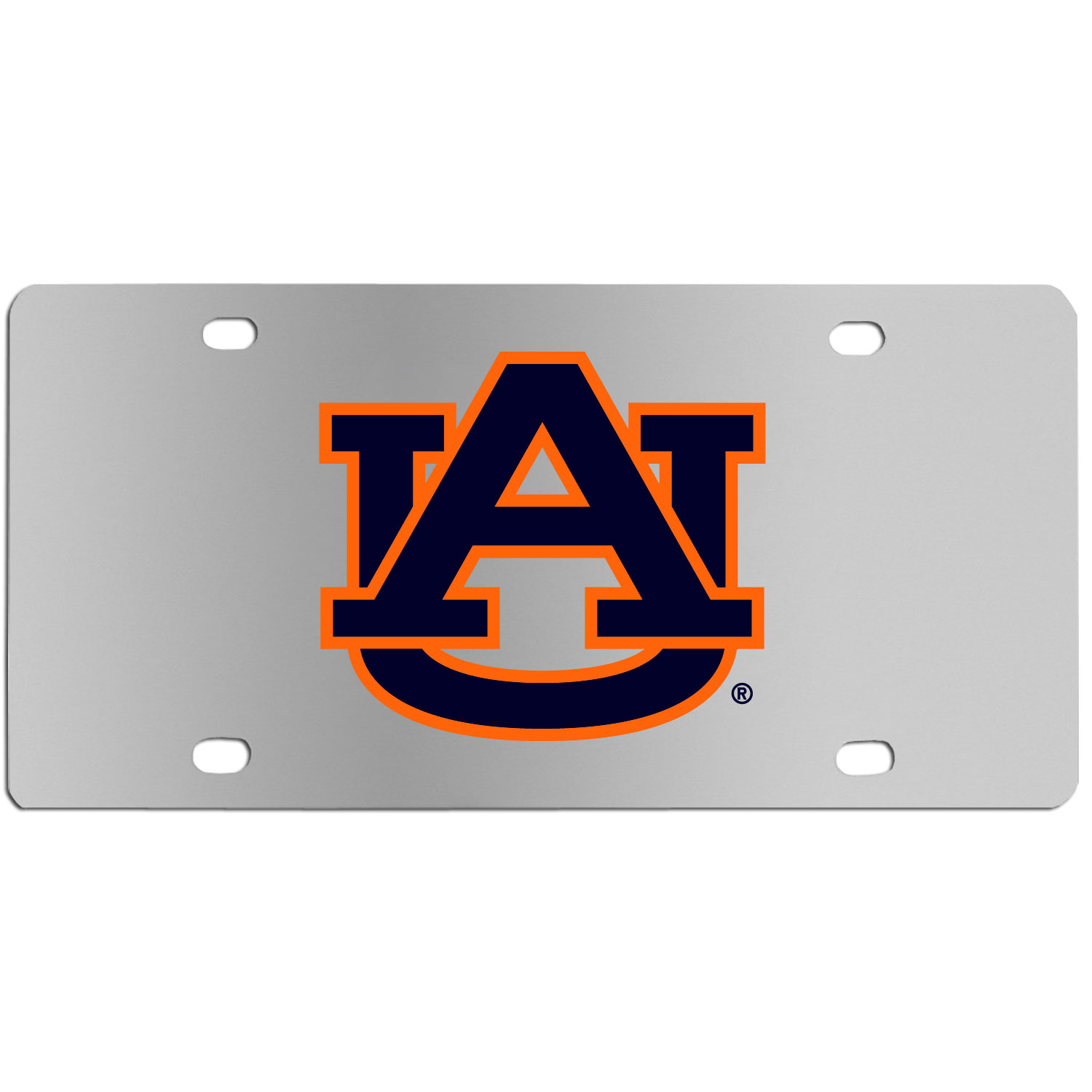 Auburn Tigers Steel License Plate Wall Plaque - This high-quality stainless steel license plate features a detailed team logo on a the polished surface. The attractive plate is perfect for wall mounting in your home or office to become the perfect die-hard Auburn Tigers fan decor.