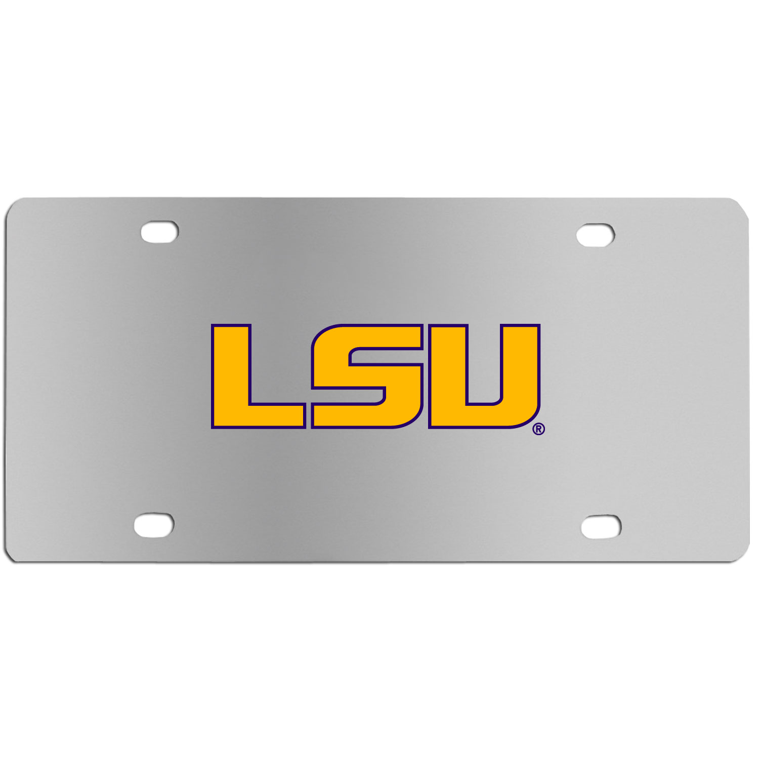 LSU Tigers Steel License Plate Wall Plaque - This high-quality stainless steel license plate features a detailed team logo on a the polished surface. The attractive plate is perfect for wall mounting in your home or office to become the perfect die-hard LSU Tigers fan decor.