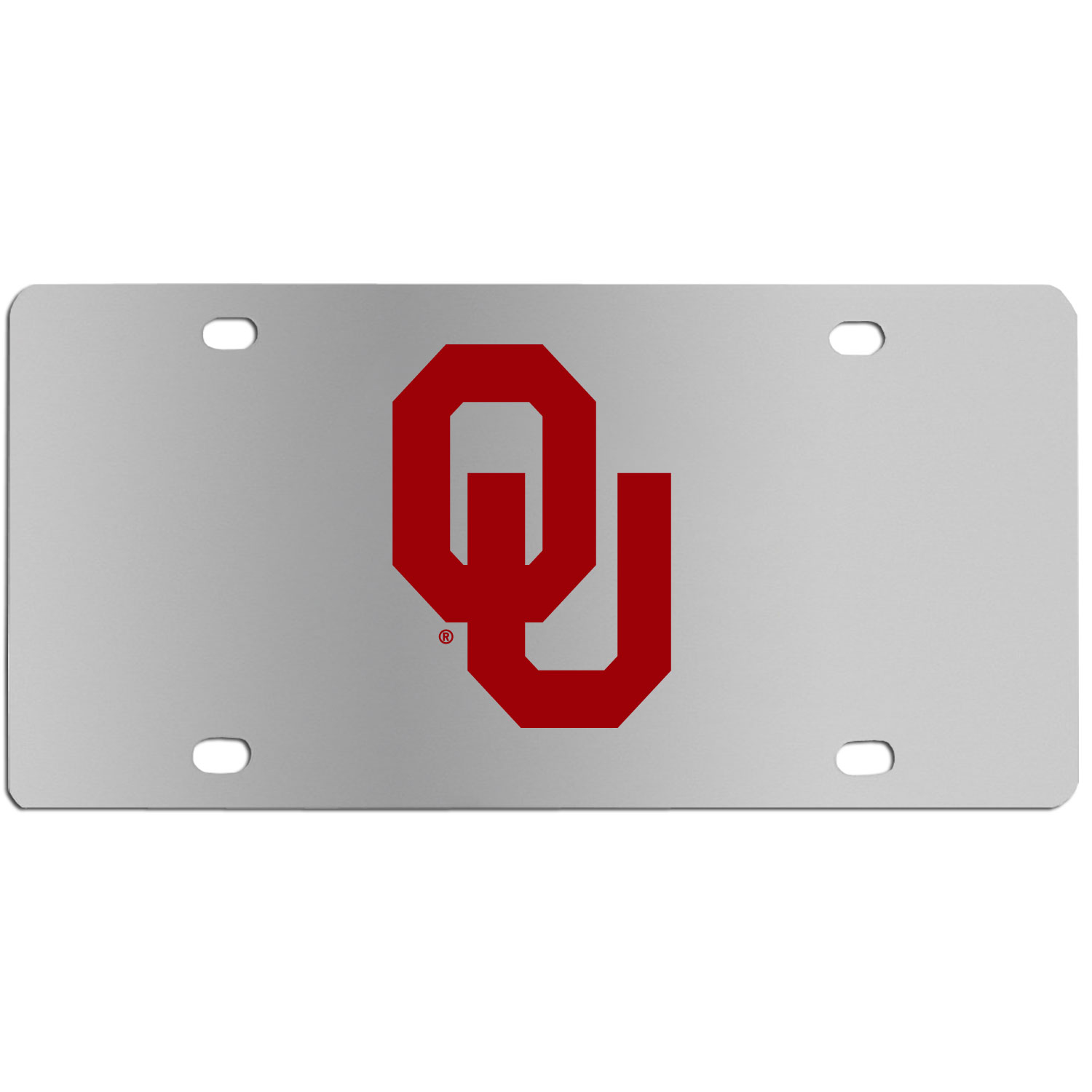 Oklahoma Sooners Steel License Plate Wall Plaque - This high-quality stainless steel license plate features a detailed team logo on a the polished surface. The attractive plate is perfect for wall mounting in your home or office to become the perfect die-hard Oklahoma Sooners fan decor.