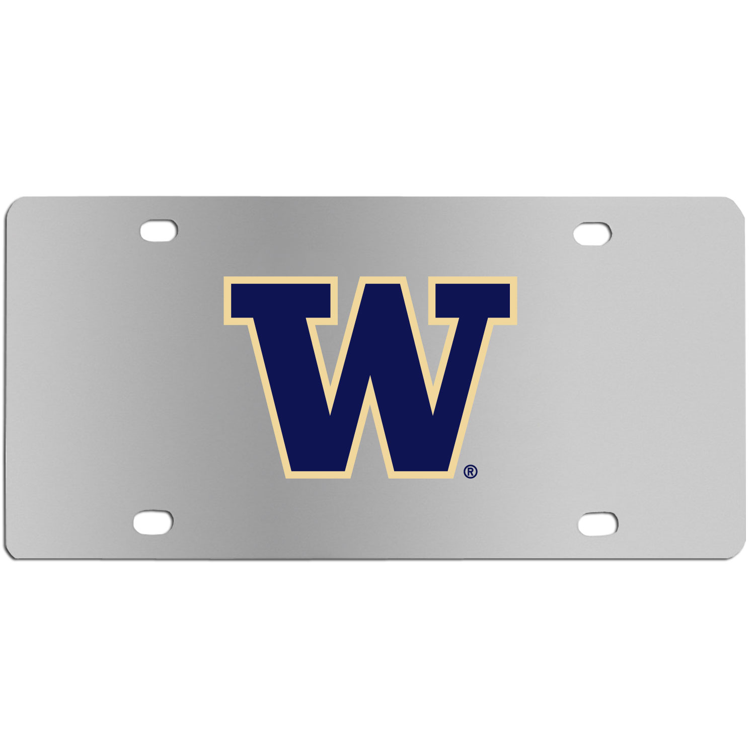 Washington Huskies Steel License Plate Wall Plaque - This high-quality stainless steel license plate features a detailed team logo on a the polished surface. The attractive plate is perfect for wall mounting in your home or office to become the perfect die-hard Washington Huskies fan decor.