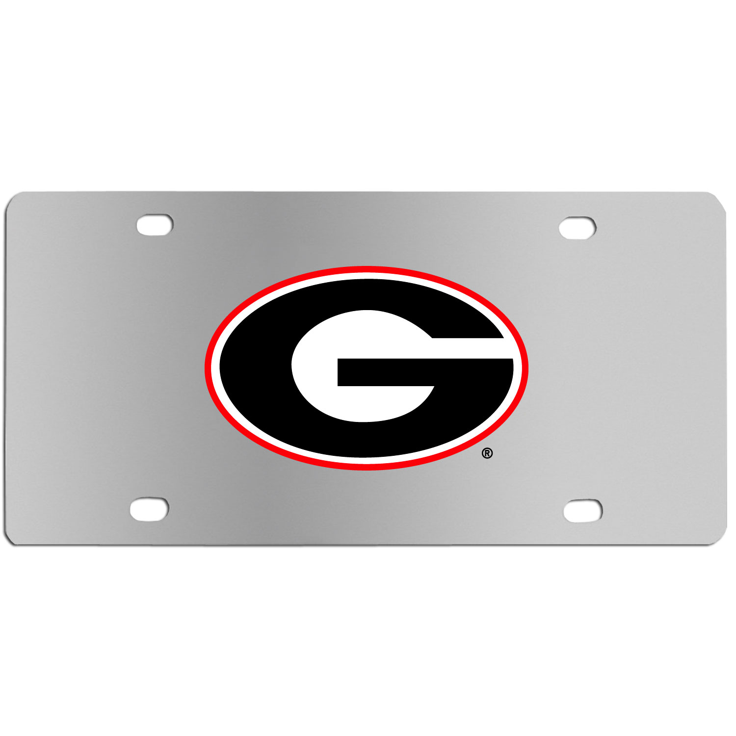 Georgia Bulldogs Steel License Plate Wall Plaque - This high-quality stainless steel license plate features a detailed team logo on a the polished surface. The attractive plate is perfect for wall mounting in your home or office to become the perfect die-hard Georgia Bulldogs fan decor.
