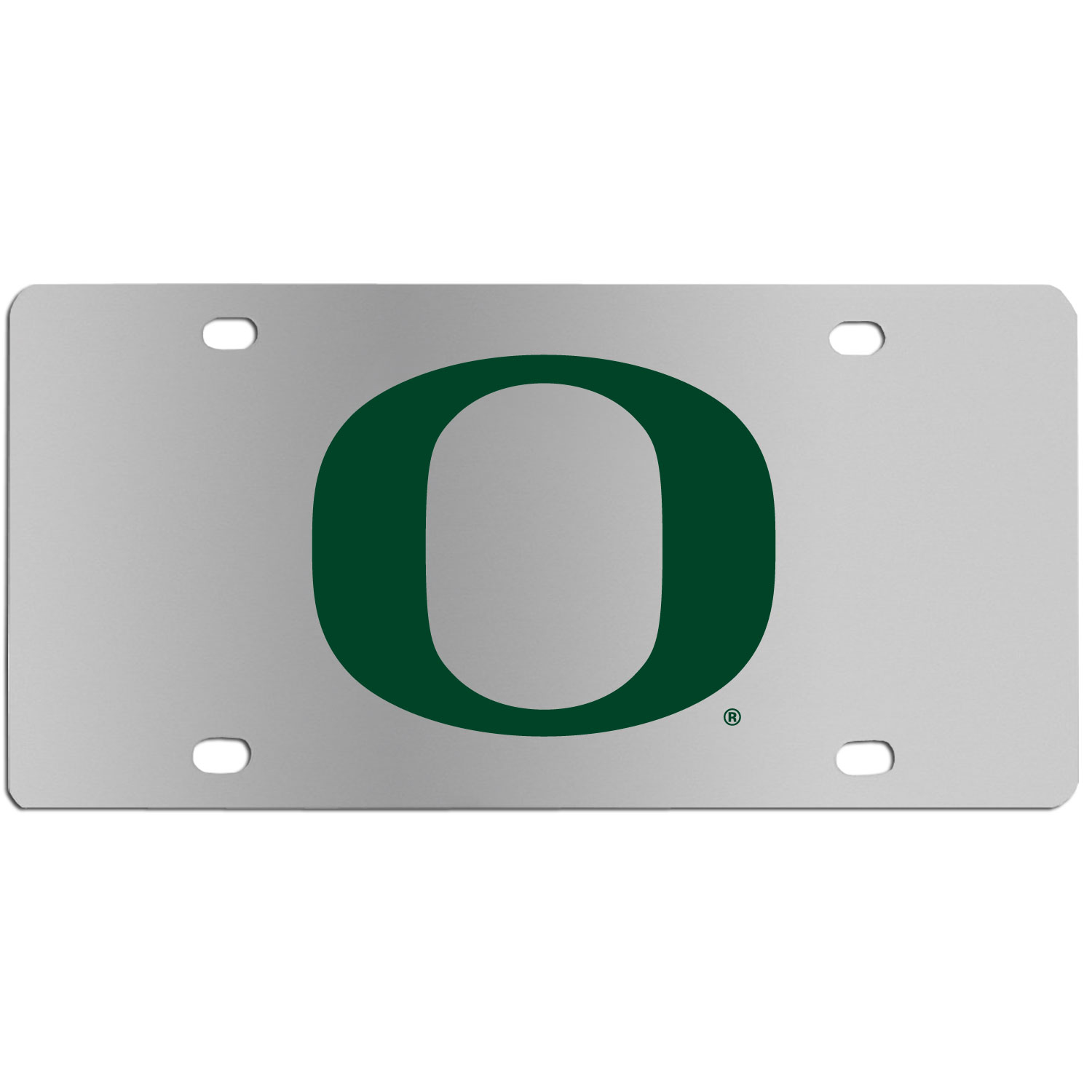 Oregon Ducks Steel License Plate Wall Plaque - This high-quality stainless steel license plate features a detailed team logo on a the polished surface. The attractive plate is perfect for wall mounting in your home or office to become the perfect die-hard Oregon Ducks fan decor.