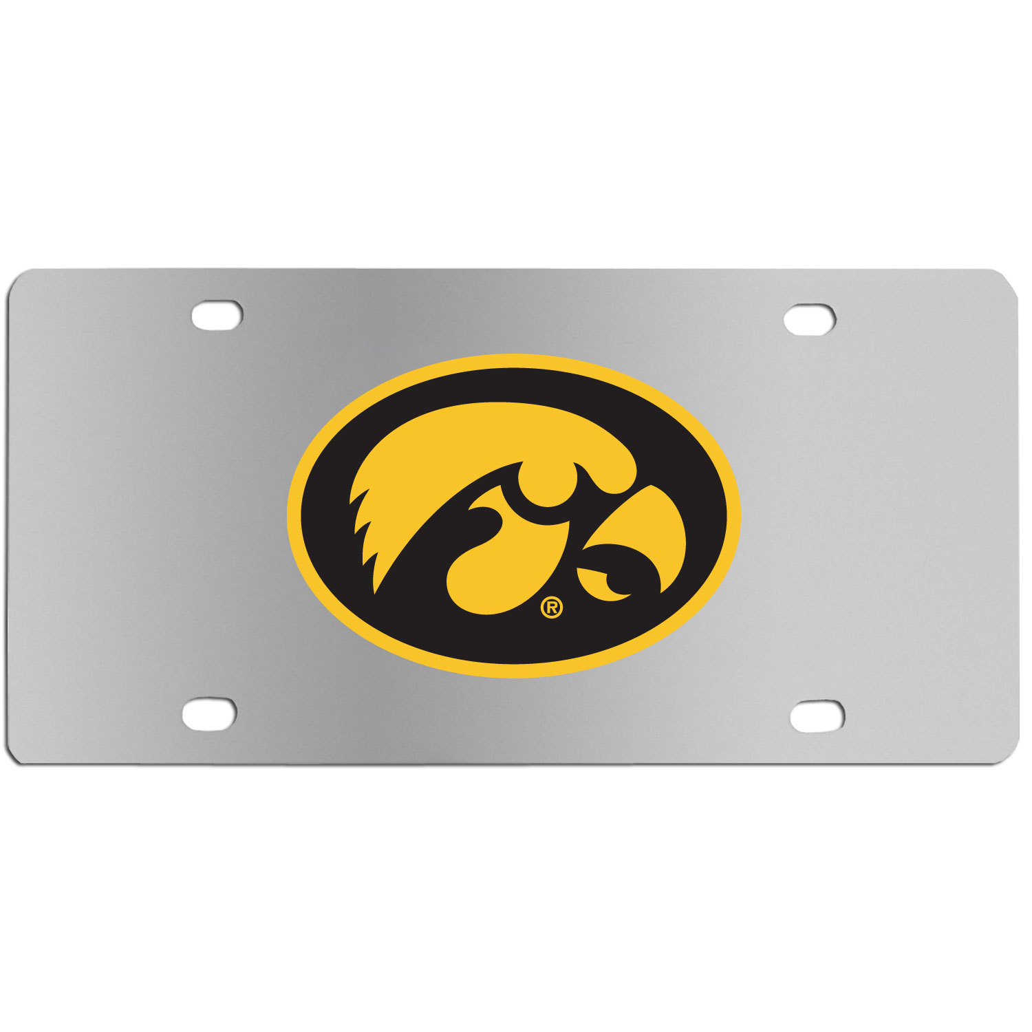 Iowa Hawkeyes Steel License Plate Wall Plaque - This high-quality stainless steel license plate features a detailed team logo on a the polished surface. The attractive plate is perfect for wall mounting in your home or office to become the perfect die-hard Iowa Hawkeyes fan decor.