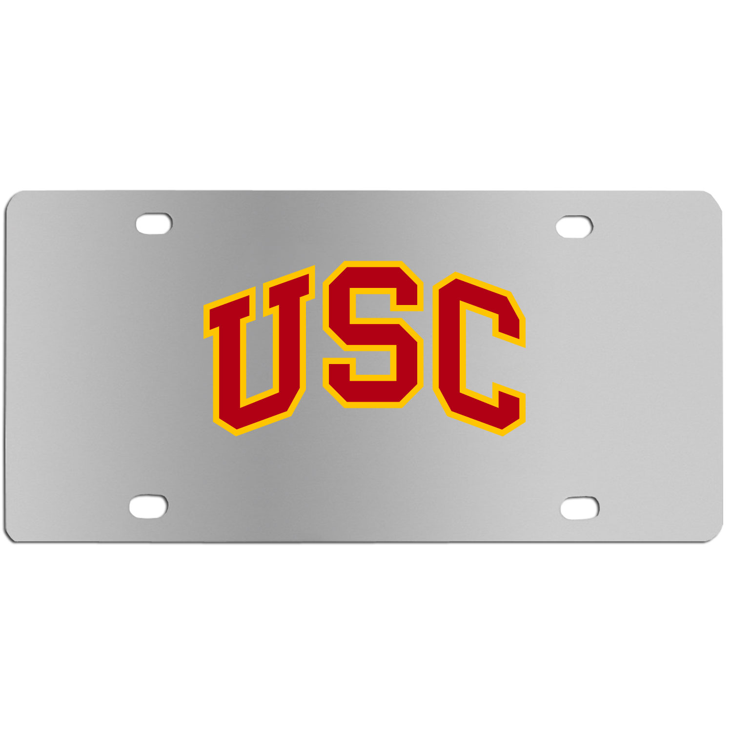 USC Trojans Steel License Plate Wall Plaque - This high-quality stainless steel license plate features a detailed team logo on a the polished surface. The attractive plate is perfect for wall mounting in your home or office to become the perfect die-hard USC Trojans fan decor.