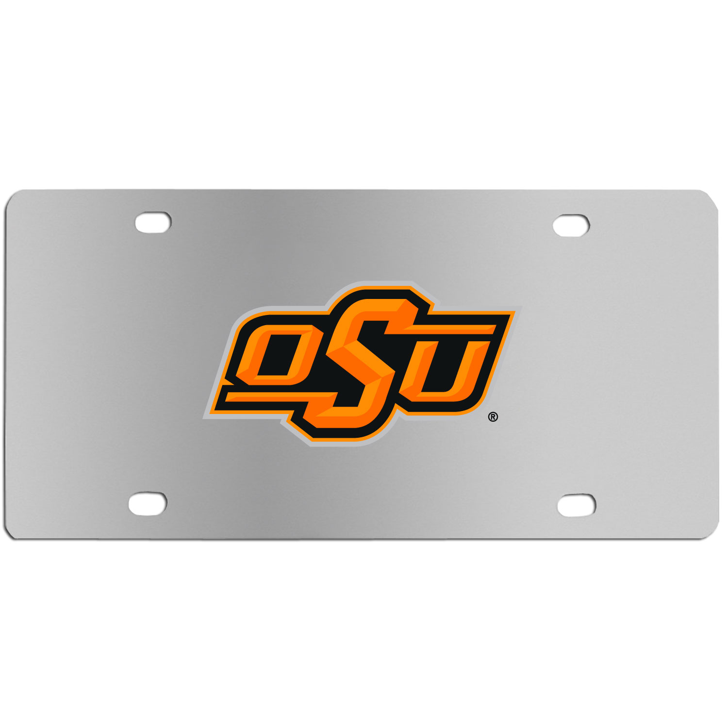 Oklahoma St. Cowboys Steel License Plate Wall Plaque - This high-quality stainless steel license plate features a detailed team logo on a the polished surface. The attractive plate is perfect for wall mounting in your home or office to become the perfect die-hard Oklahoma St. Cowboys fan decor.