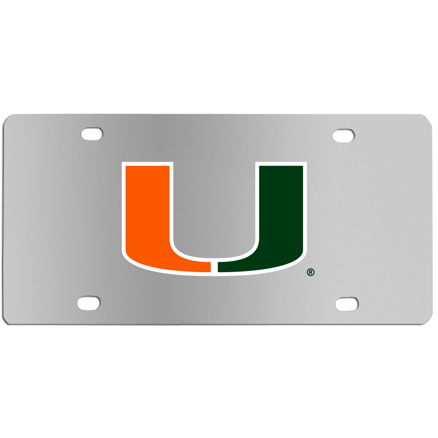 Miami Hurricanes Steel License Plate Wall Plaque - This high-quality stainless steel license plate features a detailed team logo on a the polished surface. The attractive plate is perfect for wall mounting in your home or office to become the perfect die-hard Miami Hurricanes fan decor.