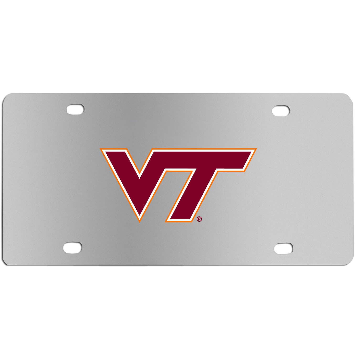 Virginia Tech Hokies Steel License Plate Wall Plaque - This high-quality stainless steel license plate features a detailed team logo on a the polished surface. The attractive plate is perfect for wall mounting in your home or office to become the perfect die-hard Virginia Tech Hokies fan decor.