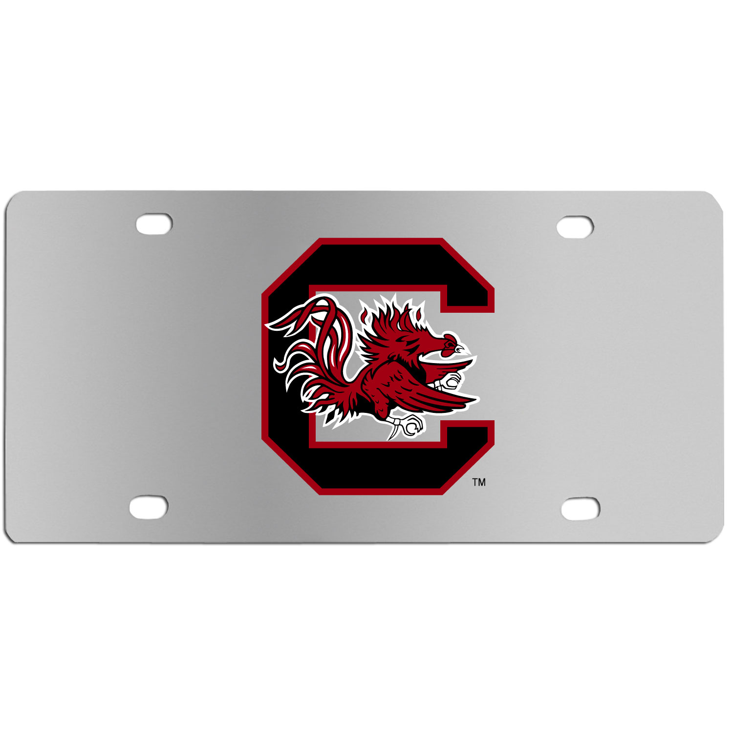 S. Carolina Gamecocks Steel License Plate Wall Plaque - This high-quality stainless steel license plate features a detailed team logo on a the polished surface. The attractive plate is perfect for wall mounting in your home or office to become the perfect die-hard S. Carolina Gamecocks fan decor.