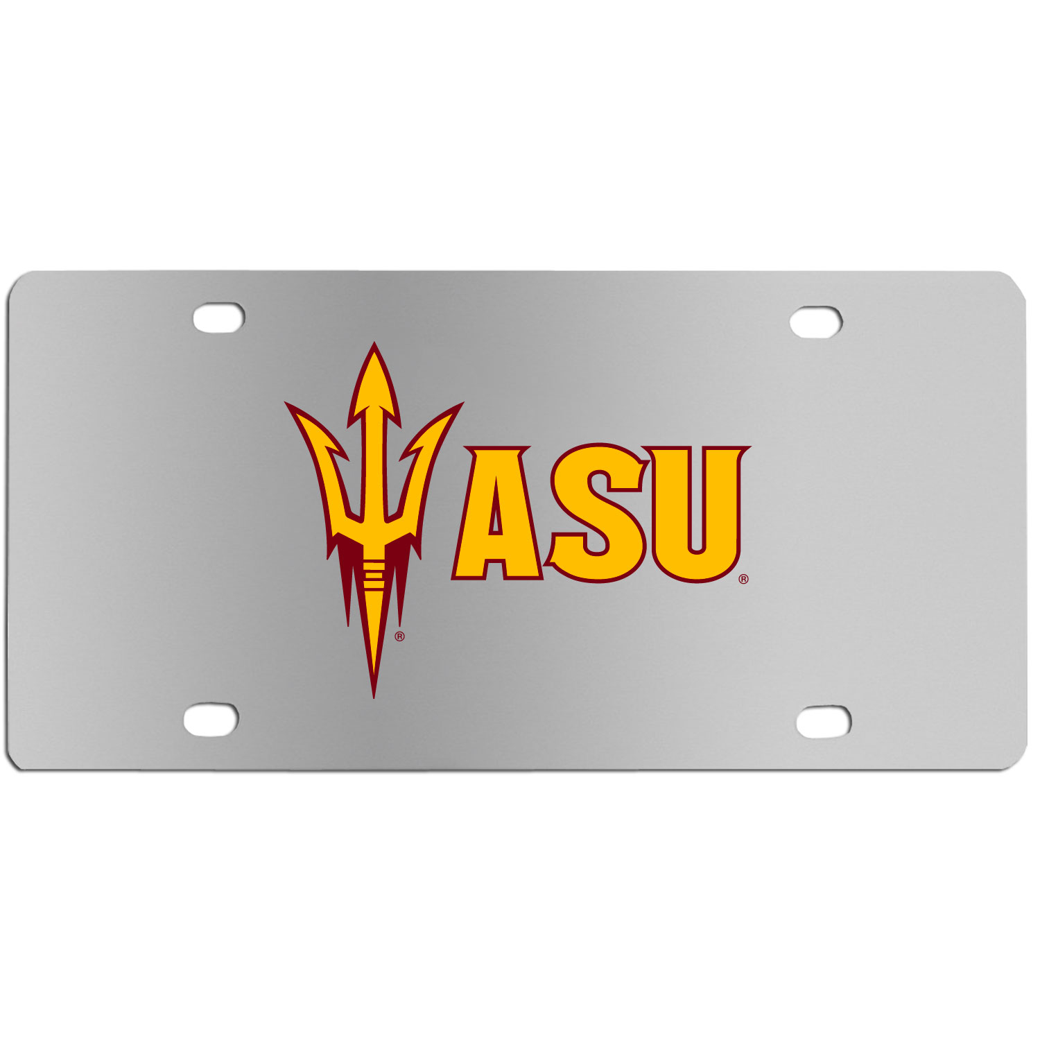 Arizona St. Sun Devils Steel License Plate Wall Plaque - This high-quality stainless steel license plate features a detailed team logo on a the polished surface. The attractive plate is perfect for wall mounting in your home or office to become the perfect die-hard Arizona St. Sun Devils fan decor.