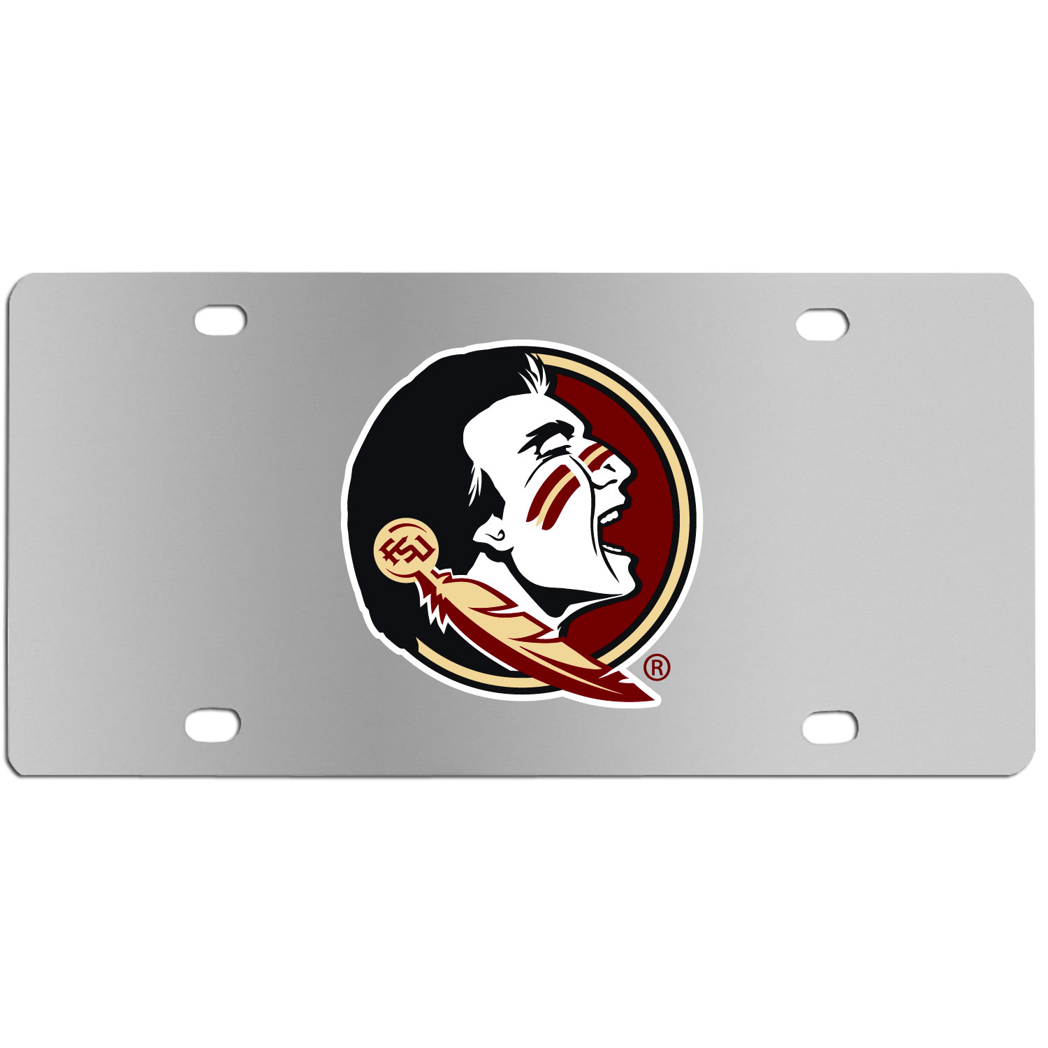 Florida St. Seminoles Steel License Plate Wall Plaque - This high-quality stainless steel license plate features a detailed team logo on a the polished surface. The attractive plate is perfect for wall mounting in your home or office to become the perfect die-hard Florida St. Seminoles fan decor.