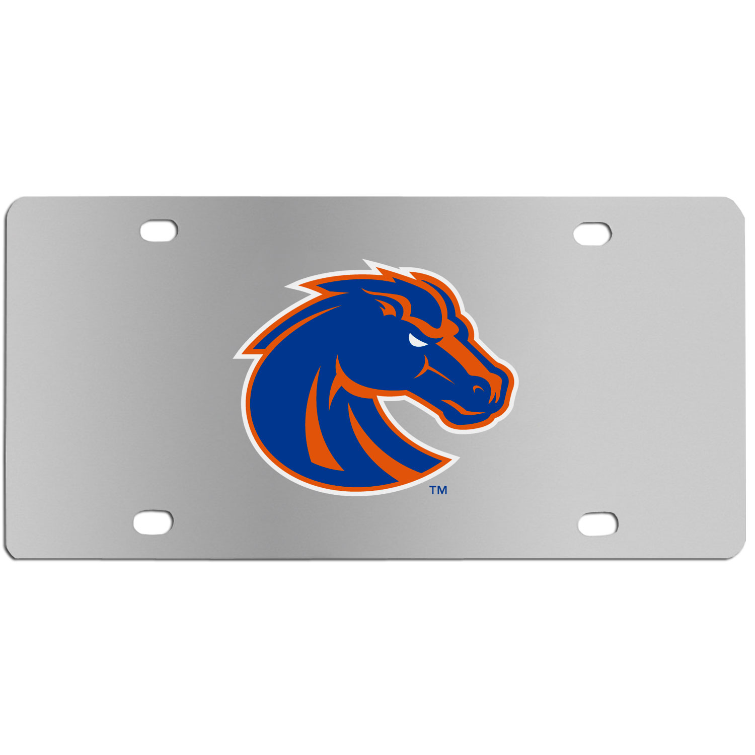Boise St. Broncos Steel License Plate Wall Plaque - This high-quality stainless steel license plate features a detailed team logo on a the polished surface. The attractive plate is perfect for wall mounting in your home or office to become the perfect die-hard Boise St. Broncos fan decor.