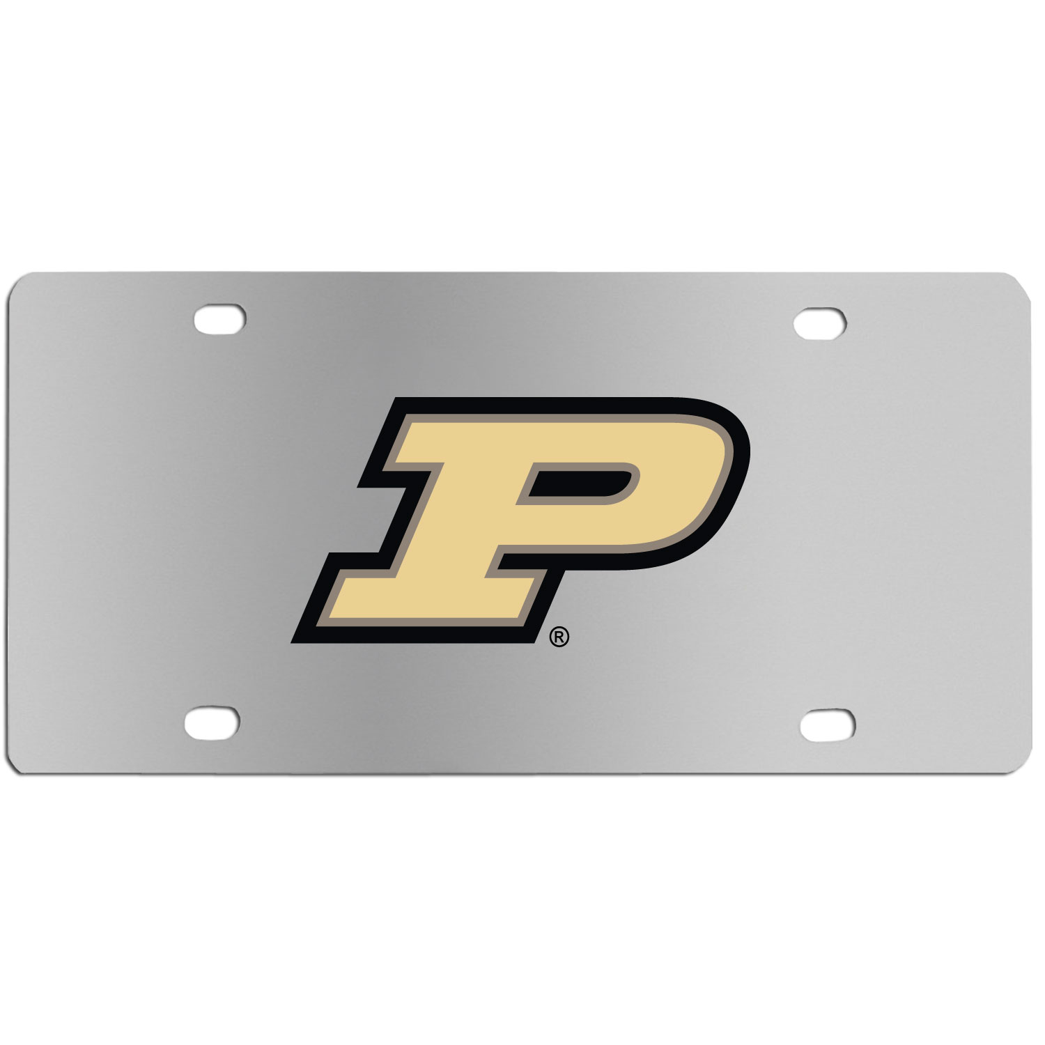 Purdue Boilermakers Steel License Plate Wall Plaque - This high-quality stainless steel license plate features a detailed team logo on a the polished surface. The attractive plate is perfect for wall mounting in your home or office to become the perfect die-hard Purdue Boilermakers fan decor.