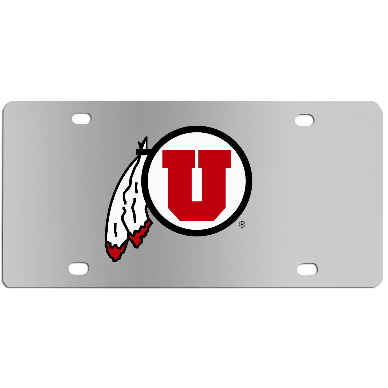 Utah Utes Steel License Plate Wall Plaque - This high-quality stainless steel license plate features a detailed team logo on a the polished surface. The attractive plate is perfect for wall mounting in your home or office to become the perfect die-hard Utah Utes fan decor.