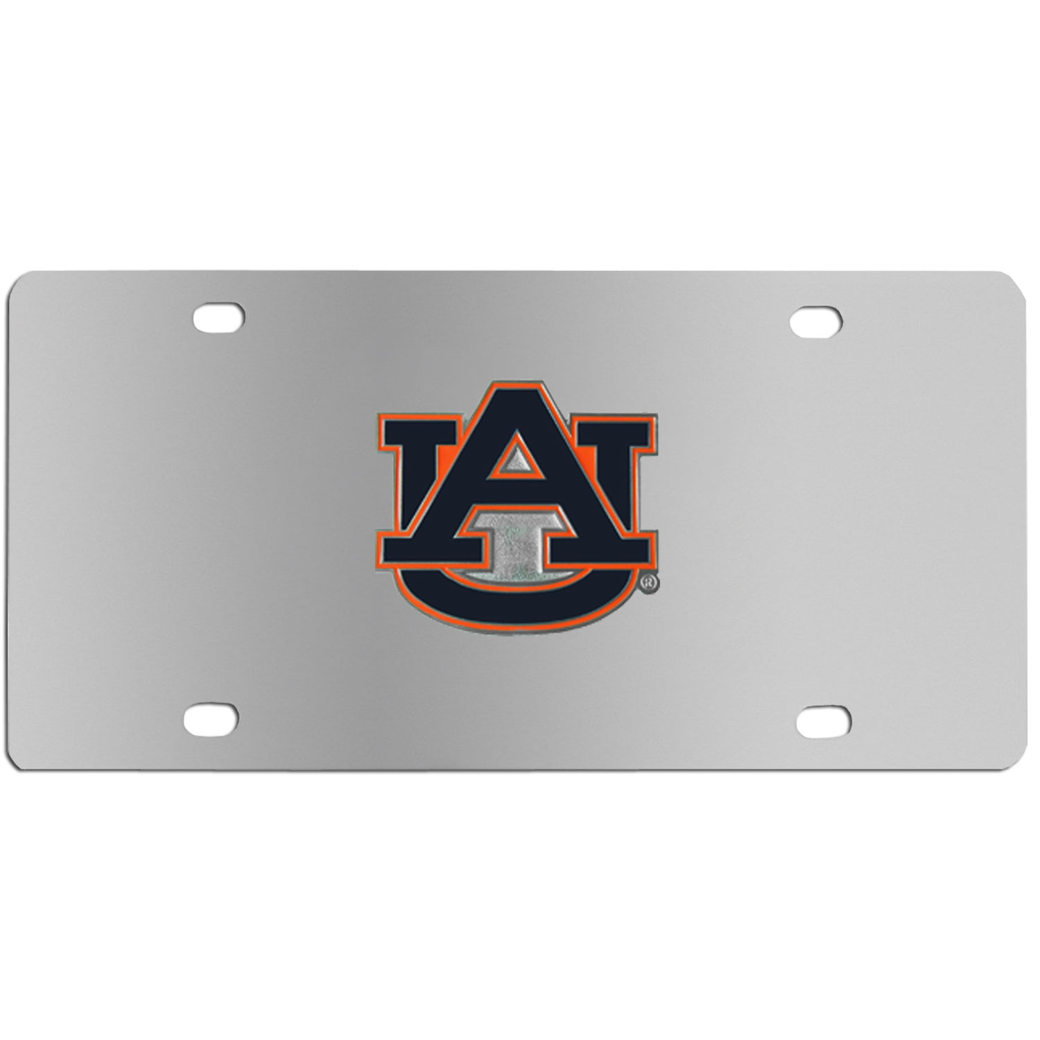 Auburn Tigers Steel License Plate - Show your team spirit with our stainless steel logo plates. Each plate features a carved and enameled Auburn Tigers emblem approximately 4 inches. Great for your vehicle or to hang on the wall in your home or office.
