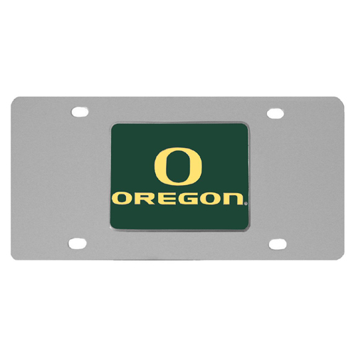 Oregon Ducks Steel License Plate - Show your team spirit with our stainless steel logo plates. Each plate features a carved and enameled Oregon Ducks emblem approximately 4 inches. Great for your vehicle or to hang on the wall in your home or office.