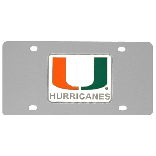 Miami Hurricanes Steel License Plate - Show your team spirit with our stainless steel logo plates. Each plate features a carved and enameled Miami Hurricanes emblem approximately 4 inches. Great for your vehicle or to hang on the wall in your home or office.