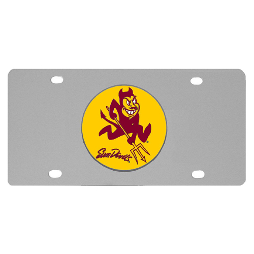Arizona St. Sun Devils Steel License Plate - Show your team spirit with our stainless steel logo plates. Each plate features a carved and enameled Arizona St. Sun Devils emblem approximately 4 inches. Great for your vehicle or to hang on the wall in your home or office.