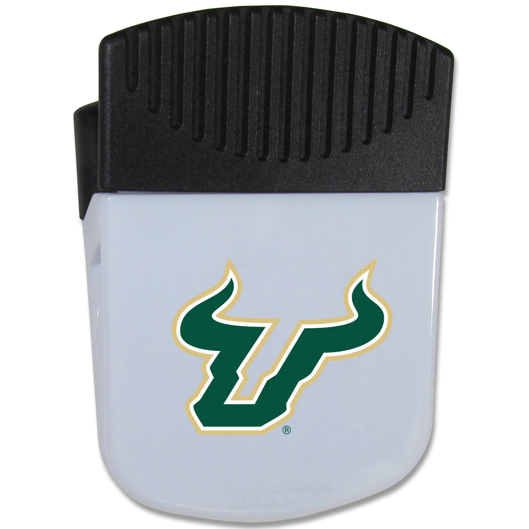 South Florida Bulls Chip Clip Magnet - Use this attractive clip magnet to hold memos, photos or appointment cards on the fridge or take it down keep use it to clip bags shut. The magnet features a domed South Florida Bulls logo.