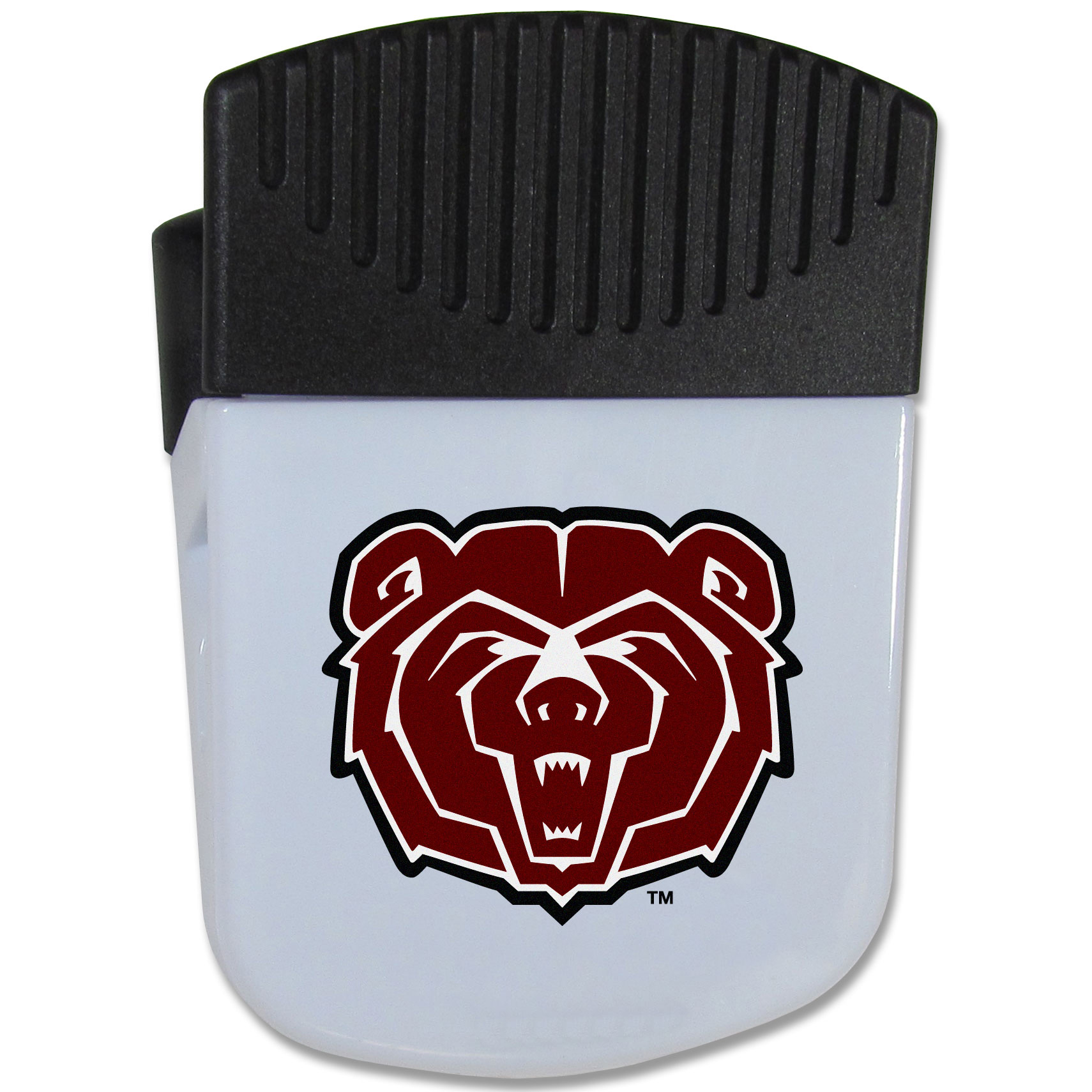 Missouri St. Bears Chip Clip Magnet - Use this attractive clip magnet to hold memos, photos or appointment cards on the fridge or take it down keep use it to clip bags shut. The magnet features a silk screened Missouri St. Bears logo.