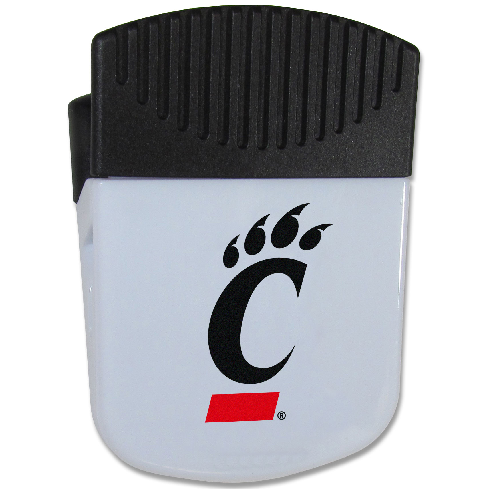 Cincinnati Bearcats Chip Clip Magnet - Use this attractive clip magnet to hold memos, photos or appointment cards on the fridge or take it down keep use it to clip bags shut. The magnet features a silk screened Cincinnati Bearcats logo.