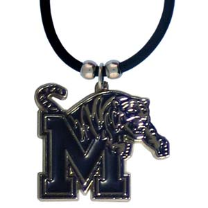 "Memphis Tigers Rubber Cord Necklace - Memphis Tigers Rubber Cord Necklace is a logo pendant strung on rubber cord.  Pendants are approximately 1 1/4"" h and enameled in vibrant color.  Memphis Tigers Rubber Cord Necklace features an easy to open/close clasp. Check out our entire line of  college merchandise! Thank you for shopping with CrazedOutSports.com"