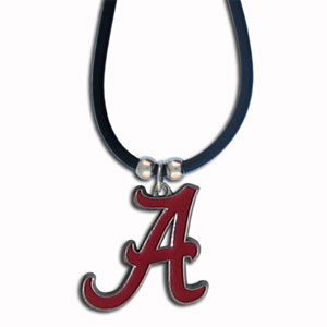 "College Logo Pendant - Alabama Crimson Tide - Our Alabama Crimson Tide college logo pendant strung on rubber cord.  Pendants are approximately 1 1/4"" h and enameled in vibrant color.  Features an easy to open/close clasp. Check out our entire line of  college merchandise! Thank you for shopping with CrazedOutSports.com"