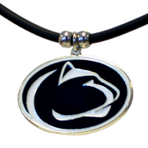 "College Logo Pendant - Penn State Nittany Lions -  college logo pendant strung on rubber cord.  Pendants are approximately 1 1/4"" h and enameled in vibrant color.  Features an easy to open/close clasp. Check out our entire line of  college merchandise! Thank you for shopping with CrazedOutSports.com"