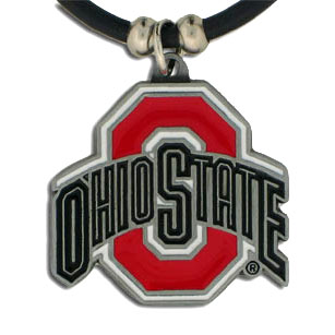 "College Logo Pendant - Ohio State Buckeyes -  college logo pendant strung on rubber cord.  Pendants are approximately 1 1/4"" h and enameled in vibrant color.  Features an easy to open/close clasp. Check out our entire line of  college merchandise! Thank you for shopping with CrazedOutSports.com"