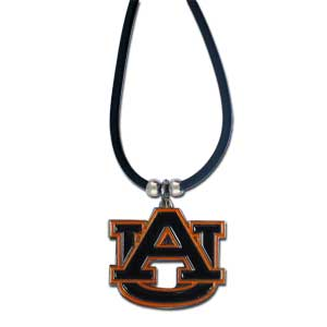 "College Logo Pendant - Auburn Tigers - Auburn Tigers college logo pendant strung on rubber cord.  Pendants are approximately 1 1/4"" h and enameled in vibrant color.  Features an easy to open/close clasp. Check out our entire line of  college merchandise! Thank you for shopping with CrazedOutSports.com"