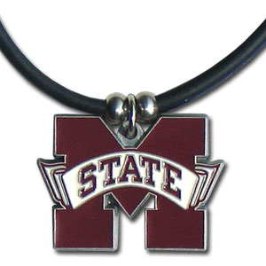 "College Logo Pendant - Mississippi St. Bulldogs -  college logo pendant strung on rubber cord.  Pendants are approximately 1 1/4"" h and enameled in vibrant color.  Features an easy to open/close clasp. Check out our entire line of  college merchandise! Thank you for shopping with CrazedOutSports.com"