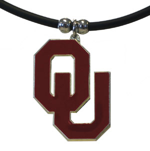 "College Logo Pendant - Oklahoma Sooners -  college logo pendant strung on rubber cord.  Pendants are approximately 1 1/4"" h and enameled in vibrant color.  Features an easy to open/close clasp. Check out our entire line of  college merchandise! Thank you for shopping with CrazedOutSports.com"