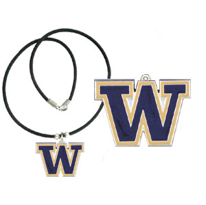 "College Logo Pendant - Washington Huskies -  college logo pendant strung on rubber cord.  Pendants are approximately 1 1/4"" h and enameled in vibrant color.  Features an easy to open/close clasp. Check out our entire line of  college merchandise! Thank you for shopping with CrazedOutSports.com"