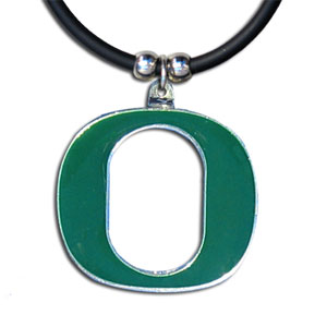 "College Logo Pendant - Oregon Ducks -  college logo pendant strung on rubber cord.  Pendants are approximately 1 1/4"" h and enameled in vibrant color.  Features an easy to open/close clasp. Check out our entire line of  college merchandise! Thank you for shopping with CrazedOutSports.com"
