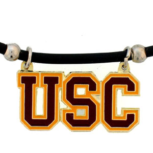 "College Logo Pendant - USC Trojans -  college logo pendant strung on rubber cord.  Pendants are approximately 1 1/4"" h and enameled in vibrant color.  Features an easy to open/close clasp. Check out our entire line of  college merchandise! Thank you for shopping with CrazedOutSports.com"