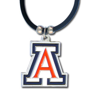 "College Logo Pendant - Arizona Wildcats -  Arizona Wildcats college logo pendant strung on rubber cord.  Pendants are approximately 1 1/4"" h and enameled in vibrant color.  Features an easy to open/close clasp. Check out our entire line of  college merchandise! Thank you for shopping with CrazedOutSports.com"