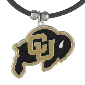 "College Logo Pendant - Colorado Buffaloes - Colorado Buffaloes college logo pendant strung on rubber cord.  Pendants are approximately 1 1/4"" h and enameled in vibrant color.  Features an easy to open/close clasp. Check out our entire line of  college merchandise! Thank you for shopping with CrazedOutSports.com"