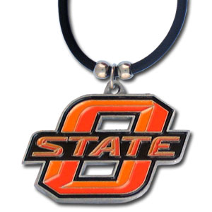 "College Logo Pendant - Oklahoma St. Cowboys -  college logo pendant strung on rubber cord.  Pendants are approximately 1 1/4"" h and enameled in vibrant color.  Features an easy to open/close clasp. Check out our entire line of  college merchandise! Thank you for shopping with CrazedOutSports.com"