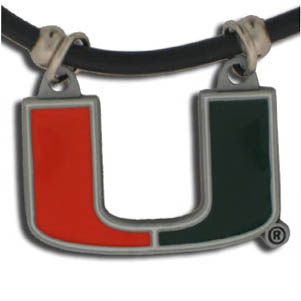 "Miami Hurricanes College Logo Pendant - Miami Hurricanes College Logo Pendant strung on rubber cord.  Miami Hurricanes College Logo Pendant is approximately 1 1/4"" h and enameled in vibrant color.  Miami Hurricanes College Logo Pendant features an easy to open/close clasp. Check out our entire line of  college merchandise! Thank you for shopping with CrazedOutSports.com"