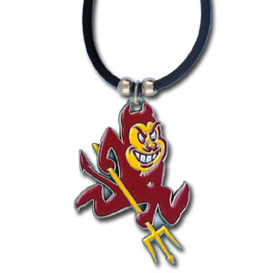 "College Logo Pendant - Arizona St Sun Devils - Arizona State Sun Devils college logo pendant strung on rubber cord.  Pendants are approximately 1 1/4"" h and enameled in vibrant color.  Features an easy to open/close clasp. Check out our entire line of  college merchandise! Thank you for shopping with CrazedOutSports.com"