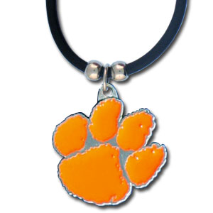 "College Logo Pendant - Clemson Tigers - Clemson Tigers college logo pendant strung on rubber cord.  Pendants are approximately 1 1/4"" h and enameled in vibrant color.  Features an easy to open/close clasp. Check out our entire line of  college merchandise! Thank you for shopping with CrazedOutSports.com"