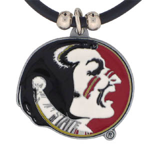 "College Logo Pendant - Florida State Seminoles - Florida State Seminoles college logo pendant strung on rubber cord.  Pendants are approximately 1 1/4"" h and enameled in vibrant color.  Features an easy to open/close clasp. Check out our entire line of  Florida State Seminoles college merchandise! Thank you for shopping with CrazedOutSports.com"
