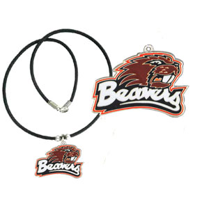 "College Logo Pendant - Oregon St. Beavers -  college logo pendant strung on rubber cord.  Pendants are approximately 1 1/4"" h and enameled in vibrant color.  Features an easy to open/close clasp. Check out our entire line of  college merchandise! Thank you for shopping with CrazedOutSports.com"