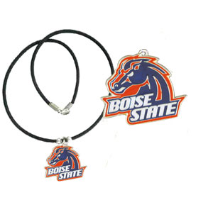 "College Logo Pendant - Boise St. Broncos - Boise State Broncos college logo pendant strung on rubber cord.  Pendants are approximately 1 1/4"" h and enameled in vibrant color.  Features an easy to open/close clasp. Check out our entire line of  college merchandise! Thank you for shopping with CrazedOutSports.com"