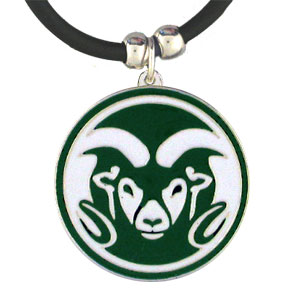 "College Logo Pendant - Colorado St. Rams - Colorado State Rams college logo pendant strung on rubber cord.  Pendants are approximately 1 1/4"" h and enameled in vibrant color.  Features an easy to open/close clasp. Check out our entire line of  college merchandise! Thank you for shopping with CrazedOutSports.com"
