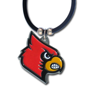 "College Logo Pendant - Louisville Cardinal -  college logo pendant strung on rubber cord.  Pendants are approximately 1 1/4"" h and enameled in vibrant color.  Features an easy to open/close clasp. Check out our entire line of  college merchandise! Thank you for shopping with CrazedOutSports.com"