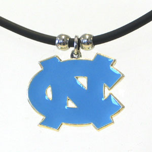 "College Logo Pendant - North Carolina Tar Heels -  college logo pendant strung on rubber cord.  Pendants are approximately 1 1/4"" h and enameled in vibrant color.  Features an easy to open/close clasp. Check out our entire line of  college merchandise! Thank you for shopping with CrazedOutSports.com"