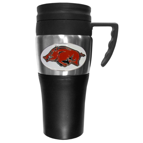 Arkansas Razorbacks Travel Mug - This two-toned 14 oz travel mug with steel accents features a fully cast & enameled Arkansas Razorbacks emblem. Thank you for shopping with CrazedOutSports.com