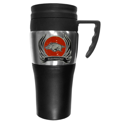 Arkansas Razorbacks Flame Travel Mug - This two-toned 14 oz travel mug with steel accents features a fully cast & enameled Arkansas Razorbacks emblem. Thank you for shopping with CrazedOutSports.com